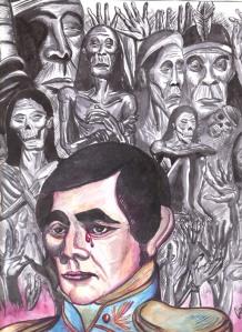 """""""Rivera y su pesar del Genocidio Charrúa"""" dibujo de Christian Tacuabe Acosta tecnica acuarela liquida.."""