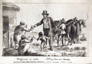Grabado de época que muestra a Fructuoso Rivera vestido de traje y recibiendo un mate de un campesino