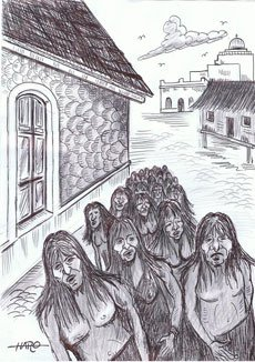 Prisioneros charrúas entrando a Montevideo