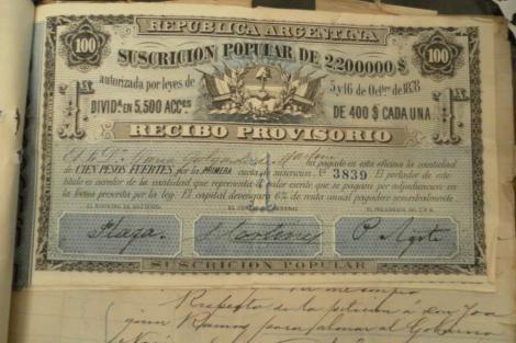 Bono del emprestito de 1878 con el que se financio la conquista del desierto. De la Pag. Tierra Adentro, la pelicula.-