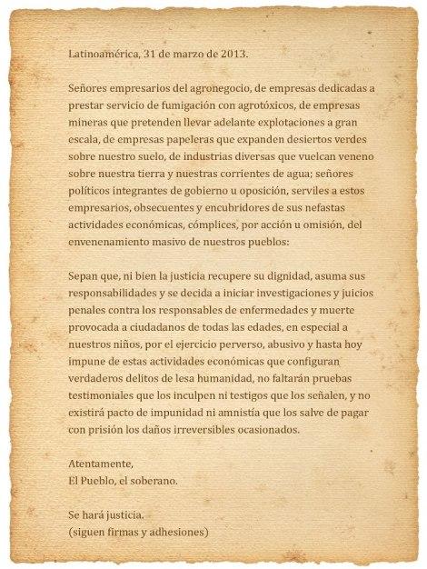 carta agrotoxicos
